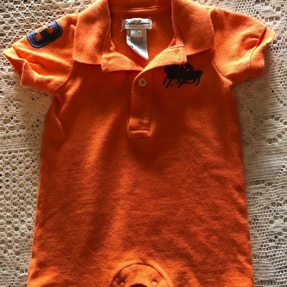 Polo by Ralph Lauren Other - Ralph Lauren Polo 3m rugby style romper EUC orange